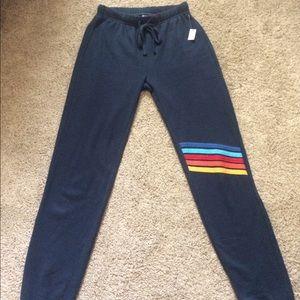 Pants - NWT Blue Joggers Rainbow Knee Stripes XS